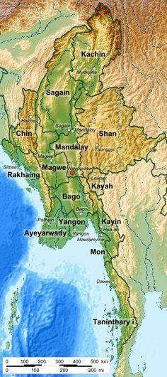 Mapa de Birmania que muestra sus divisiones administrativas de primer nivel.