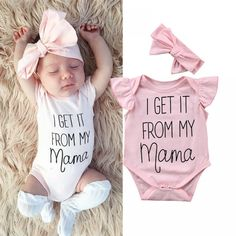 Newborn Baby Girls Cothes Word Print Round Neck Sleeveless Ruffle Bodysuit Bow H So Cute Baby, Cute Baby Clothes, Cute Babies, Mama Baby, Baby Kicking, Pregnant Mom, First Baby, Baby Hacks, Bandeau