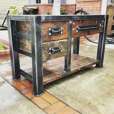 **FREE SHIPPING**Financing available thru Paypal** Vintage Industrial Bathroom Vanity! Stunning worn gunmetal gray steel frame. Dark walnut Reclaimed wood planks compliment the steel perfectly! Drawer pulls and hardware are designed and made by me as well so this piece is 100%