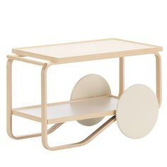 Designer and colour specialist Hella Jongerius has created two new colour combinations for Artek's classic Tea trolley dark and light. The light Tea trolley has eggshell coloured wheels and a frame made of natural birch.