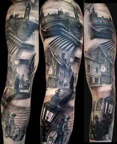London skyline scenery tattoo