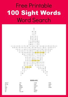 If your child is learning to read download this free pack-100 sight words word search-free printables