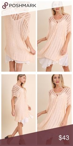 Arrives 5/15 Blush Sweater/Kimono Light sweater with drawstring detail. Great to pull together an outfit. Also can be used as a bathing suit coverup (kimono). Sizes are S/M (2-6 women's) or M/L (8-12 women's size). Sweaters