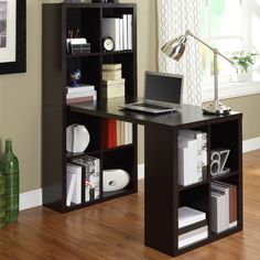 Features:  -Large work surface.  -Storage cubbies hold craft or office supplies.  -Hollow core construction.  Desk Type: -Writing desk.  Top Material: -Manufactured Wood.  Base Material: -Manufactured