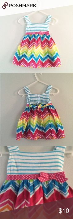 Baby girl Colorful Dress with diaper cover Worn twice. Ties in back and comes with matching diaper cover Dresses
