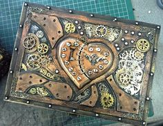 Steampunk Industrial boxes and drawer chests Altered Boxes, Altered Art, Altered Canvas, Mixed Media Canvas, Mixed Media Art, Cigar Box Crafts, Steampunk Heart, Steampunk Crafts, Spy Gadgets