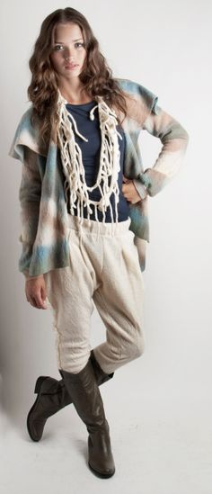 Love the heathered colors! Ivory riding Pants felted Baggy wool Pants pockets by texturable, $120.00