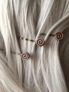 Swirl Hair Pins Copper Womens Hair by ArcanumByAerrowae on Etsy Queen Hair d58aeb0a7c23