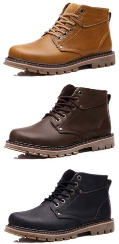 Men Genuine Leather Stitching Wearable Resistant Lace Up Boots