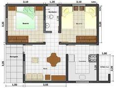Plantas de casas populares pequenas - Confortáveis e bem distribuídas! 3d House Plans, 2 Bedroom House Plans, Small House Plans, Home Design Plans, Home Interior Design, Interior And Exterior, B Plan, How To Plan, Plan Hotel