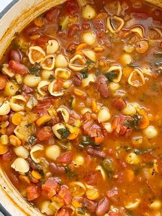 Pot of minestrone soup with pasta, beans, vegetables in a tomato sauce vegetable broth base. Fall Soup Recipes, Healthy Soup Recipes, Vegan Dinner Recipes, Veggie Recipes, Veggie Meals, Winter Recipes, Yummy Recipes, Chicken Minestrone Soup Recipe, Pasta Soup