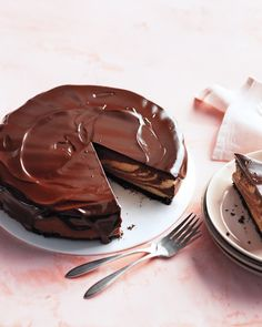 Chocolate-Peanut Butter Cheesecake with Chocolate Glaze -- a decadent dessert for your mom on her special day.
