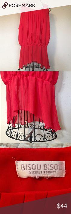 Stunning Red Sleeveless Blouse Stunning Red Sleeveless Blouse, elastic middle blouses the top. High low hem. XL top by Bisou Bisou Bisou Bisou Tops Blouses