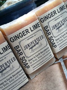 Ginger Lime - 4 Pack of Half Bars - Guest Soap, Stocking Stuffer, Thank You gift - All Natural Vegan Cold Process Bar Soap For Men and Women