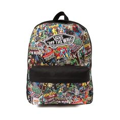 Shop for Vans Marvel Backpack in Multi at Journeys Shoes. Shop today for the hottest brands in mens shoes and womens shoes at Journeys.com.Show your love for Vans and Marvel Comics with this rad canvas backpack featuring old school Marvel comic book print graphics and Vans signature Off The Wall patch logo. Includes front zip compartment and adjustable shoulder straps.