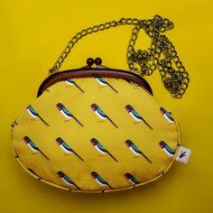 Swallow Handbag  #handbag #acessories #fashion #purse #bird #chickadee #yellow #divabara #design Brass Chain, Keds, Fabric Design, Hand Sewing, Fashion Backpack, Ale, Eye Candy, Backpacks, Bird