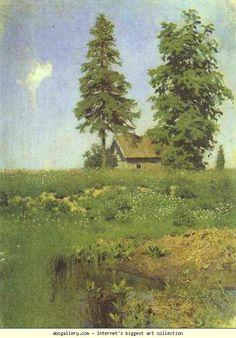 Isaac Levitan. Small Hut in a Meadow. Olga's Gallery.