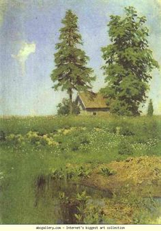 Isaac Levitan. Small Hut in a Meadow. Olga's Gallery.