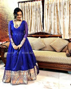 Long Dresses made out of old and Damaged Sarees Party Wear Indian Dresses, Indian Gowns Dresses, Dress Indian Style, Kalamkari Dresses, Ikkat Dresses, Saree Gown, Lehnga Dress, Half Saree Designs, Saree Blouse Designs