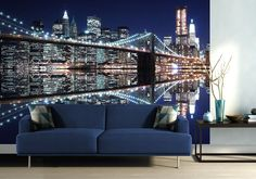Large size New York mural wallpapers for bedroom and living rooms. Choose from over 1000 different murals, wallpapers & other decor type. Bridge Wallpaper, Lit Wallpaper, Wallpaper Size, Paper Wallpaper, Custom Wallpaper, How To Apply Wallpaper, Wall Murals, Wall Art Decor, Standard Wallpaper