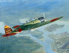 """""""Dawn of Infamy"""" - Imperial Japanese Navy B5N2 Kate, piloted by Mitsuo Fuchida from carrier Akagi, approaches Battleship Row over Pearl Harbor on the morning of December 7th, 1941. Original oil painting by aviation artist Kevin Weber. Pin by Paolo Marzioli"""