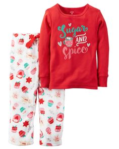 4T  Complete with plush fleece pants and a cozy cotton top, this 2-piece PJ set is extra comfy! Matched set keeps bedtime dressing easy. Note: To help keep children safe, cotton pjs should always fit snugly.