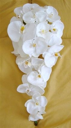 yellow orchid cascading bouquets