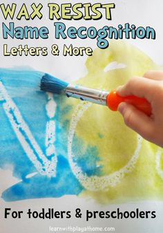 Wax resist Name Recognition and Letter Learning activity for kids. Literacy idea.