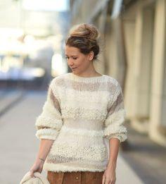 LINELANGMOSTRIKKEGENSERKK Mohair Sweater, Sweater Cardigan, Lace Skirt, Knitwear, Knit Crochet, Fur Coat, Pullover, Knitting, Skirts