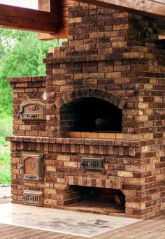- Salvabrani Outdoor Kitchen Plans, Outdoor Oven, Outdoor Cooking, Primitive Fireplace, Prefab Cottages, Brick Bbq, Four A Pizza, Backyard Fireplace, Gazebo Pergola