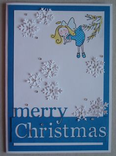 X059 Hand made Christmas card using ELZYBELLS stamp and Grand Merry Christmas die. By Linda Fraser