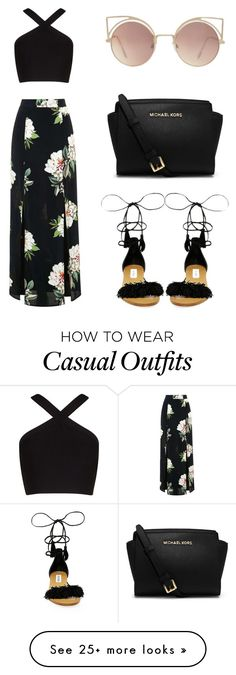 Casual black look with maxi floral black skirt, criss cross halter crop top and black sandals Topshop, BCBGMAXAZRIA, Steve Madden, MICHAEL Michael Kors and MANGO Look Fashion, Teen Fashion, Fashion Outfits, Womens Fashion, Fashion Shoes, Fashion Clothes, Fashion Black, Dress Fashion, Mango Fashion