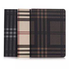 Moderne Lederhülle im Karo und Streifen Design für iPad Air 2 - spitzekarte.com