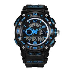 Blue Kids Big Face High End Waterproof Analog Digital Watch for Boys * See this great product. (Note:Amazon affiliate link) #CoolandAffordableWatches