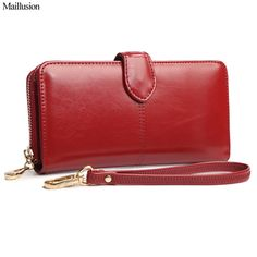 Maillusion Women Wallet High Capacity Fashion Long Style Designer Hasp Oil Wax Leather Female Clutch Coin Purse Ladies Wristlet
