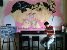 steff drawing art finish #coffeeshop #mural pictureswall #legitacoffee #steffart