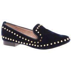 River Island Navy Velvet Stud Slipper Shoes ($77) ❤ liked on Polyvore