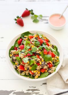 Quinoa, Black Bean, and Strawberry Salad by Sylvia Klinger of Hispanic Foods Communications, Inc. is a high protein side dish packed with the fantastic benefits of California strawberries! Quinoa Spinach, Quinoa Salad, Healthy Strawberry Recipes, Healthy Recipes, Healthy Meals, Lunch Recipes, Salad Recipes, Black Bean Quinoa, Corn Salads