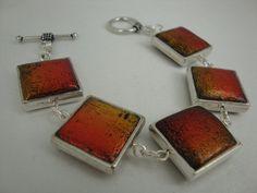 Handmade polymer clay bracelet orange crackled effect by annagiles, £35.00