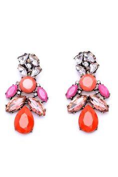 Shiny Red White Rhinestones Gold Trees Sparkle Women Stud Earrings E1140