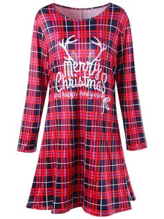 e0da0ab927ffc Fashion Women Elk Print Christmas Party Dress Long Sleeved Round Collar  Elegant Red Plaid Winter 2017 Ladies Vestidos Plus Size