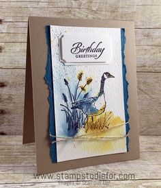 Just in CASE - Wetlands Stamp Set by Stampin' Up! www.stampstodiefor.com Wetlands Stampin Up, Stampin Up Cards, Men's Cards, Bday Cards, Birthday Cards For Men, Male Birthday, Masculine Birthday Cards, Masculine Cards, Feather Cards