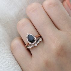 Pear Black Spinel Halo Diamond Engagement Ring in Pave Band from La More