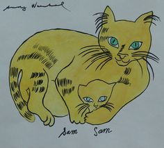 "Andy Warhol - ""Sam"" from cats named Sam, and one blue pussy"" by mavis Andy Warhol Pop Art, Andy Warhol Drawings, Pittsburgh, I Love Cats, Crazy Cats, Son Chat, Pop Art Movement, Blue Cats, Cat Names"