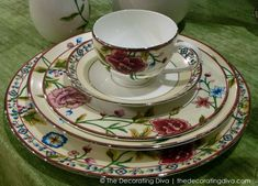 Scalamandre Bouvier China Collection for Lenox -  Named for style icon & First Lady Jacqueline Bouvier Kennedy Onassis. Beautiful floral patterns.