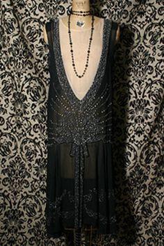 1920's beaded black chiffon flapper dress.