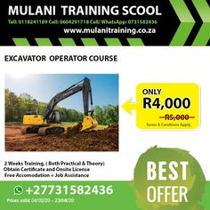 call us Tell: 0118241189 Cell 0731582436 or Whatsap *ACCOMMODATION AVAILABLE.* Heavy equipment vary from the the portable and mobile lighter equipment to extreme heavy equipment, many … Training School, Heavy Equipment, Lighter, How To Apply