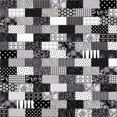Black and White Bricks Pre-Cut Quilt Top Kit 42x42
