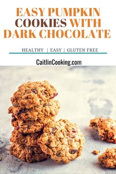 Healthy Cookie Recipes, Healthy Low Carb Recipes, Healthy Cookies, Vegetarian Cookies, Cooking Recipes, Easy Meals For Kids, Quick Easy Meals, Gluten Free Pumpkin Cookies, Healthy Breakfast Smoothies