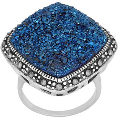Sterling Silver Blue Drusy and Marcasite Ring ($88) ❤ liked on Polyvore featuring jewelry, rings, multicolor, druzy jewelry, blue sterling silver rings, marcasite jewelry, sterling silver rings and sterling silver square ring